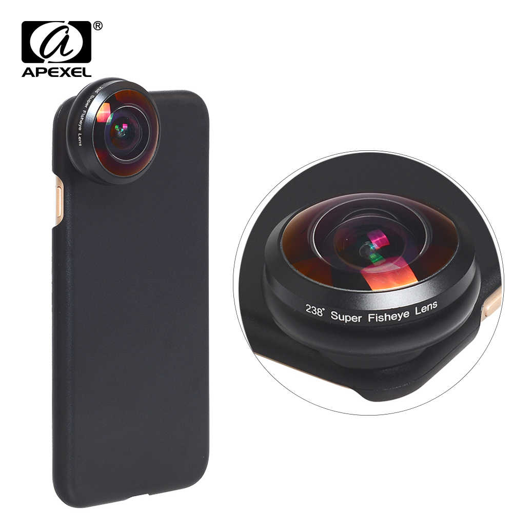 Apexel universal fisheye lens 238 degree super fish eye 0.2X full frame wide angle lens for iPhone X 7 8 6 6s plus xiaomi redmi