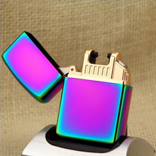 Metal Double fire twin arc pulse Electronic Cigarette Lighters electric arc gold charge USB lighters smoker sexy ice man