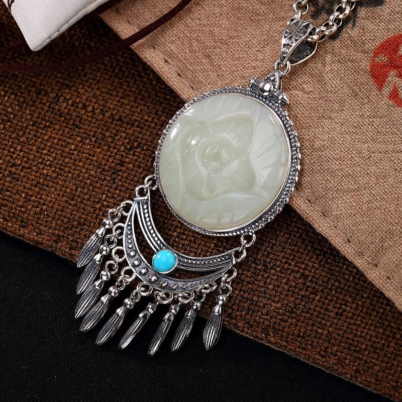 2018 New S925 pure silver hetian jade turquoise lotus tassel retro wholesale high-grade ladies sweater chain pendant