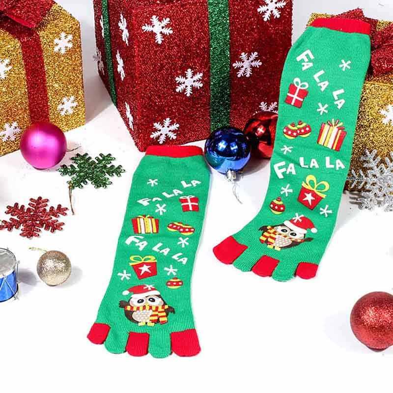 Рождественские носки с мультипликационным принтом Санты снеговика с разноцветным носком хлопчатобумажные забавные носки FJ88