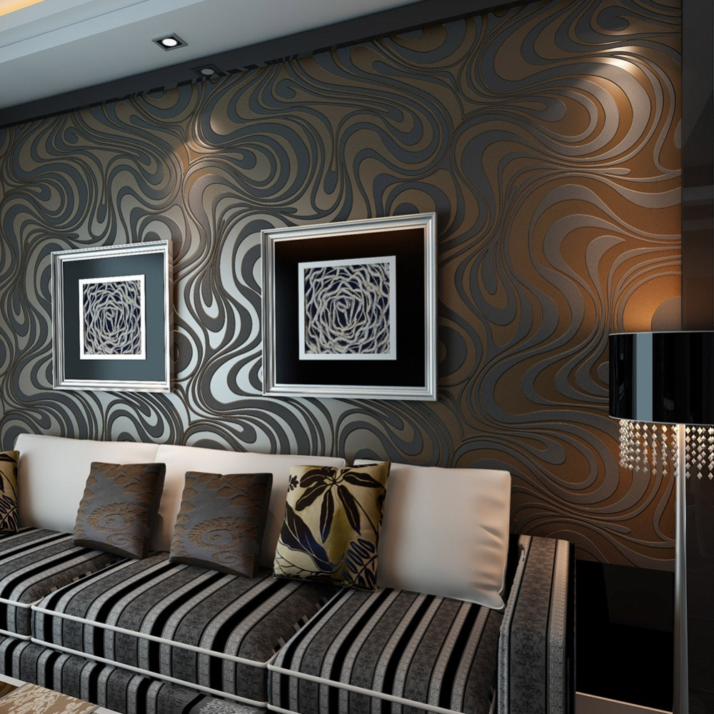 Modern Luxury Abstract Curve 3D Wallpaper Roll Mural Papel De Parede Flocking for Striped QZ0250