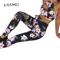 LASPERAL 2017 Floral Printed Women S Tracksuit Hollow Out Sexy Halter Yoga Bra Sport Legging Tights