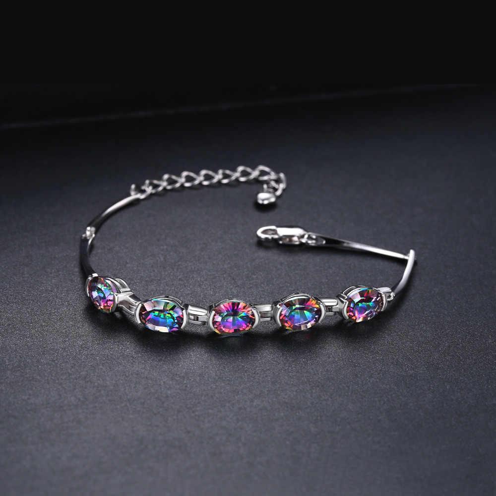 JewelryPalace VINTAGE 6CT เว้ารูปไข่ Mystical สร้อยข้อมือ Rainbow Topaz Solid 925 Sterling Silver Charm เครื่องประดับสำหรับผู้หญิง