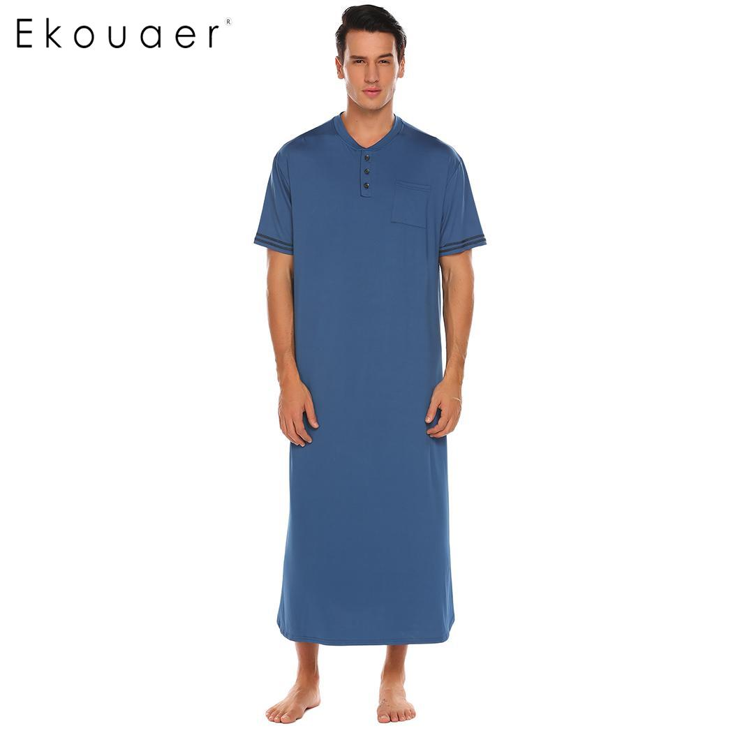 Ekouaer Men Soft Nightshirts Nightewear Short Sleeve Henley Loose Long Sleep Shirt Men Sleepwear Home Clothes Plus Size