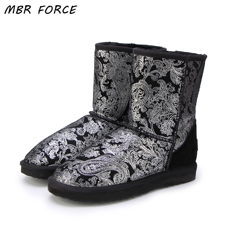 MBR FORCE 2018 Style Hot Sale 100 Genuine Leather Fashion Girls Winter Snow Boots For Women