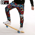 New 2016 Spring Men's Sweat Trousers With Print Large Size 4XL 5XL 6XL Colorful Pencil Korean Style Jogger pants Men 387pant