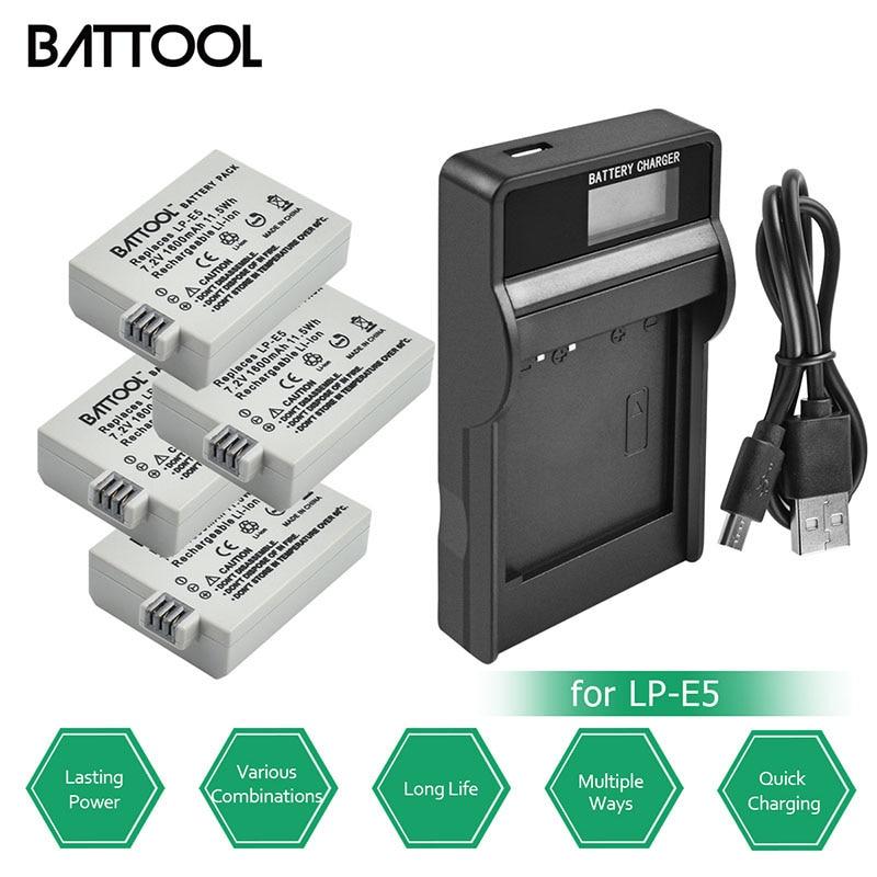 Battool Lp-e5 Lp E5 Batterie Charger Kit Batteria 1600 Mah 7.2 V Per Canon Eos 1000d 450d 500d Digital Rebel T1i Digital Rebel Xs Design Professionale