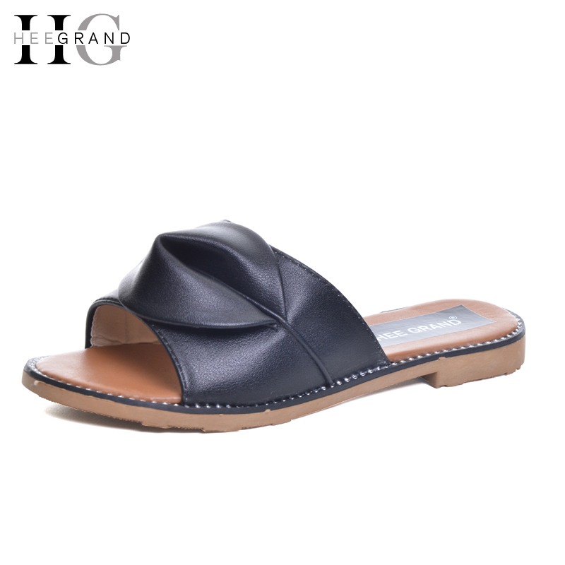 HEE GRAND Knot Slippers 2017 Summer Flip Flop Casual Women Slip On Platform Flats Shoes Woman Beach Women Shoes XWZ3946 hee grand summer gladiator sandals 2017 new beach platform shoes woman slip on flats creepers casual women shoes xwz3346
