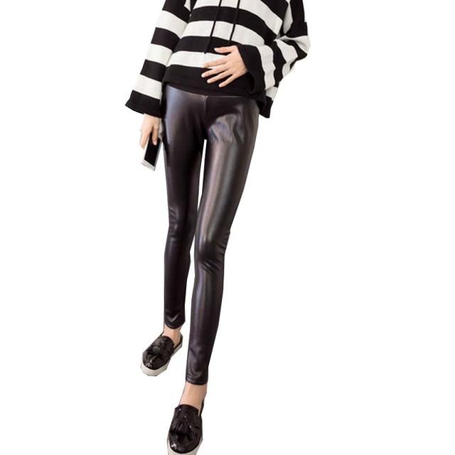 M-2XL Pu Leather Hamile Pantolon Soft Solid Maternity Wear Pants Clothes for Pregnant Women Pants Premama Black Autumn Trousers