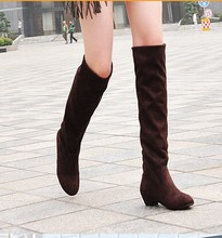 40size winter knee high stretch boots women 2017 fashion female solid color thick heel winter tall