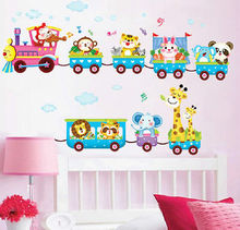 Animal Train Wall Decal Stickers Vinyl Art Kids Baby Nursery Room Cartoon Decor  Home Decoration Stickers car sticker japanese cartoon fans seed gundam raiser vinyl wall stickers decal decor home decoration