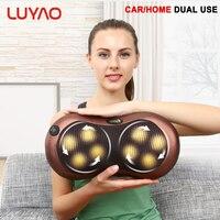 LUYAO Electric Kneading Neck Massager Pillow Infrared Heating Shoulder Back Body Massage Pillow Cushion Health Car Home Massagem