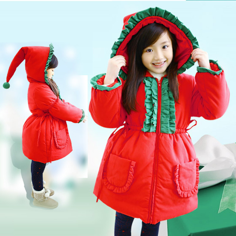 ФОТО Anlencool  Equipment Children In Europe And America Festive Christmas Hat Jacket Girls Thick Cotton Baby Clothing