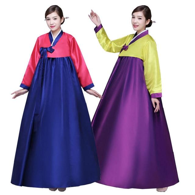 efe1c577b Multicolor coreano tradicional traje corte mujeres Hanbok vestido femenino  Corea escenario danza ropa para rendimiento antiguo