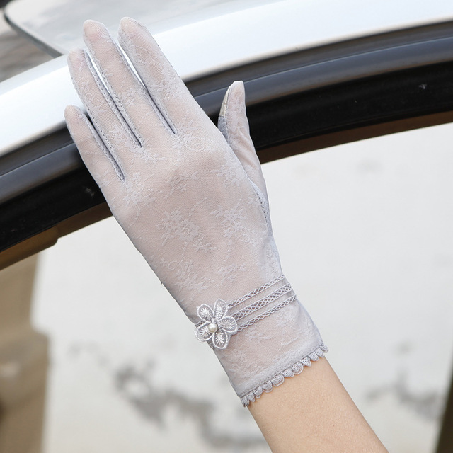Sexy Spring Summer Women Autumn UV Sunscreen Short  Sun Gloves Fashion Ice Silk Lace Driving Of Thin Touch Screen Gloves G06F 3