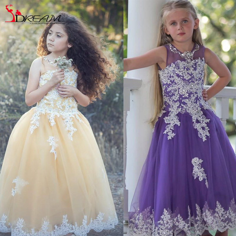 2016 Arabic Lace Crystals Sheer Neck Ball Gown Flower Girl Dresses Vintage Child Pageant Dresses Flower Girl for Wedding