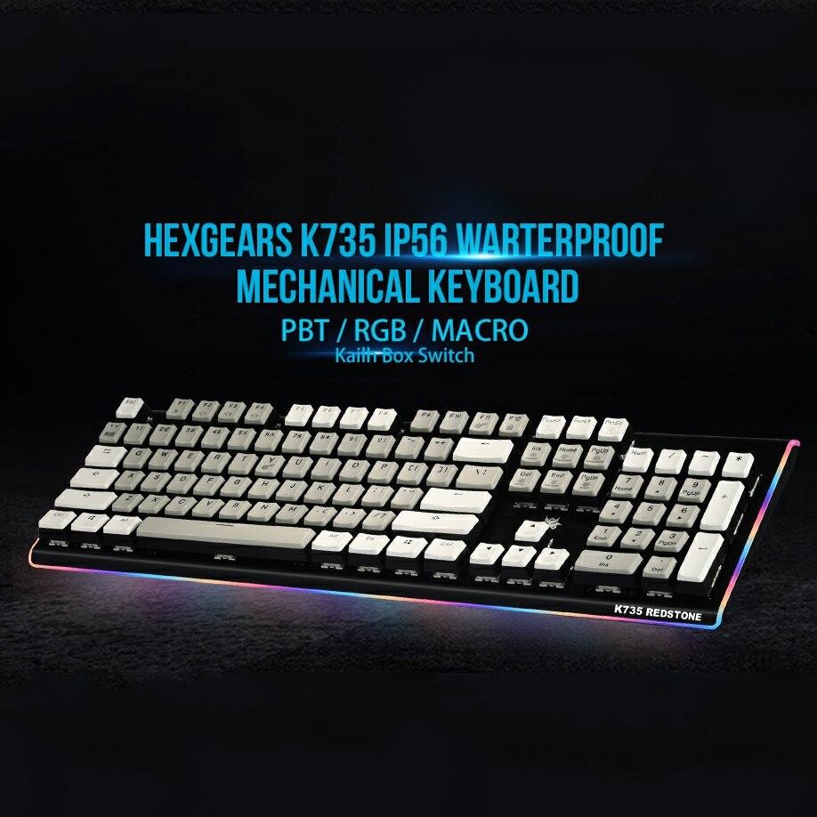HEXGEARS Mechanical Keyboard usb Gaming Waterproof Klavye Red Switch Keyboard with Backlight PBT Keycap Programmable Keyboard