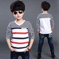 Camisetas de Rayas de moda para Niños Del Otoño Del Algodón Tees Niños Ropa para Adolescentes Boy ropa de Abrigo Cabrito Tops Camisas Infantiles
