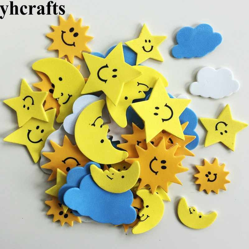 25PCS/LOT,Moon Sun Cloud foam stickers Early learning educational craft diy toys Kids room ornament Color learning Kindergarten