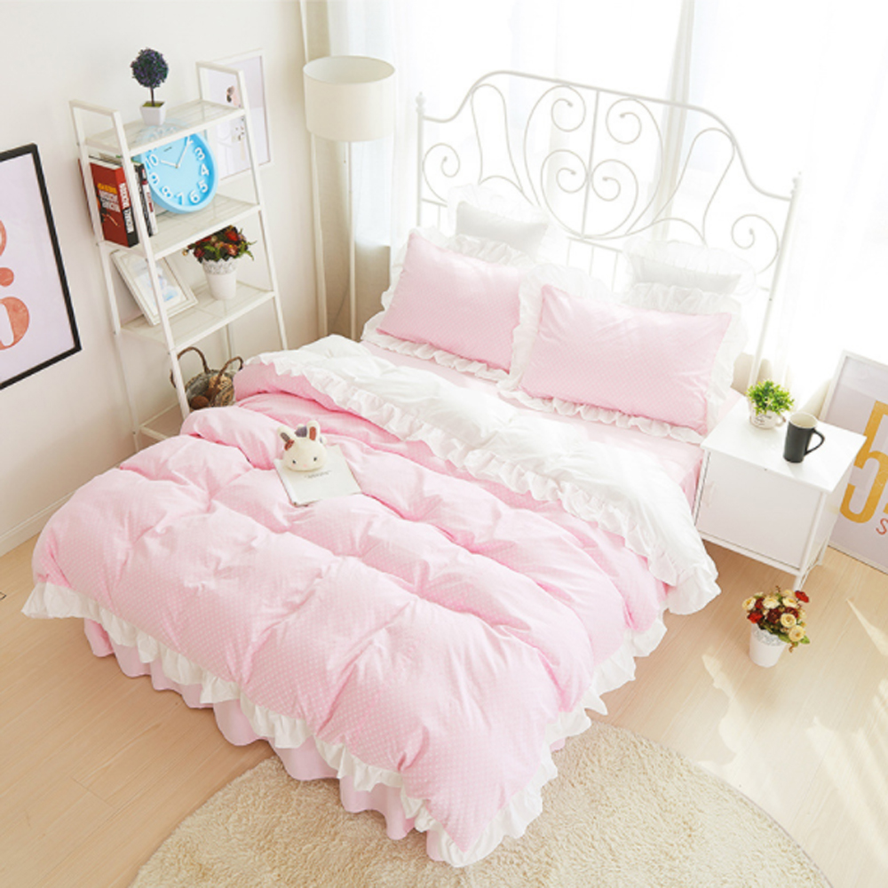 Korean Princess Style Ruffled Stripes Dot pattern Duvet Cover Bed Sheet Set 100% Cotton Pink/Blue/Green/Black/Yellow Bedding Set