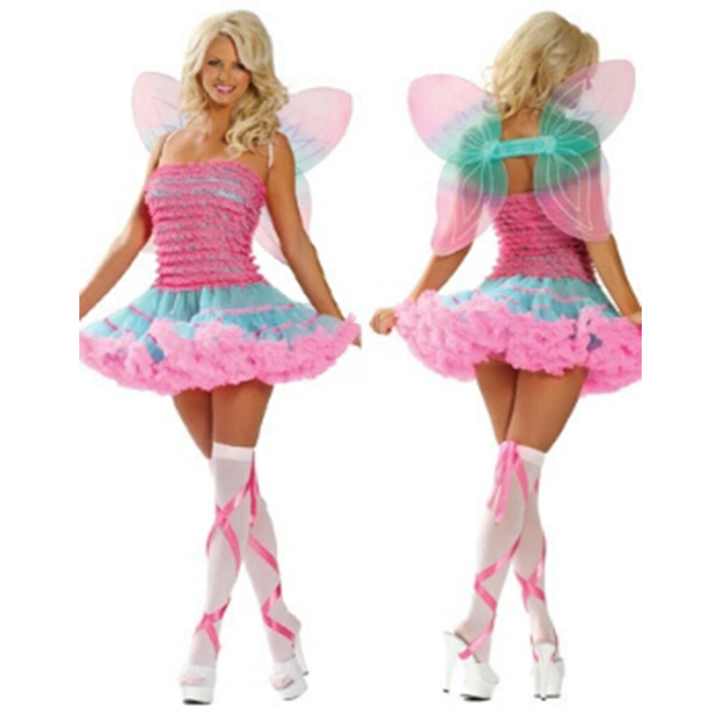 New party adult female cosplay costume flower fairy wings elf costume cosplay uniform temptation pink cute princess dress