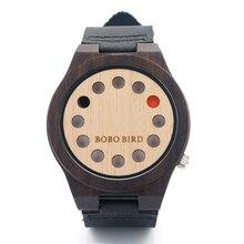 2016 nuevo 12 Holes diseño luz reloj de madera de sándalo Mens del análogo de cuarzo relojes con banda de cuero negro pulsera de madera relojes