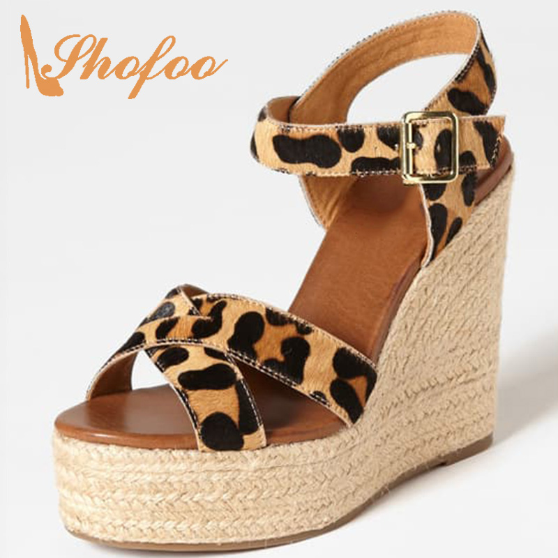 Lady Sandals Wedges Heels Casual-Shoes Leopard Buckle-Strap Large-Size Summer Woman 15