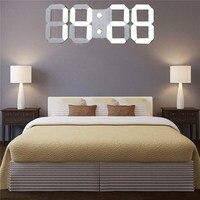 Charminer White Large 3D Acrylic Digital LED Skeleton Wall Clock Timer 24 12 Hour Display Modern