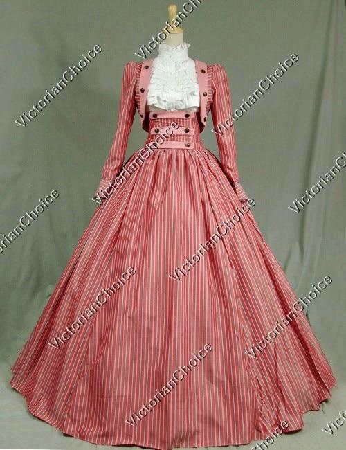 Custom Made-Victorian Civil War Stripes 3-pc Period Dress Ball Gown Reenactment Stage Wear Dess