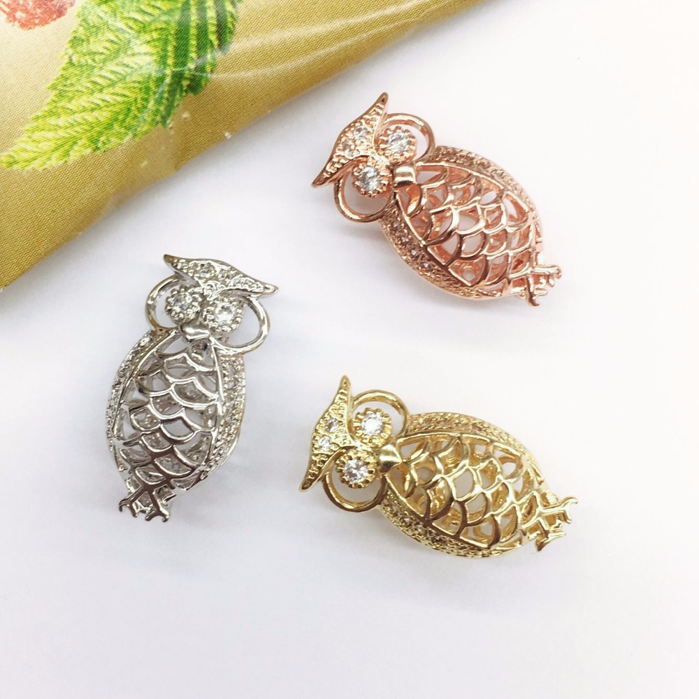 Hollow cage pendant owl small pendant new listing hollow cage zircon silk box ball copper crown essential oil disperser pendant