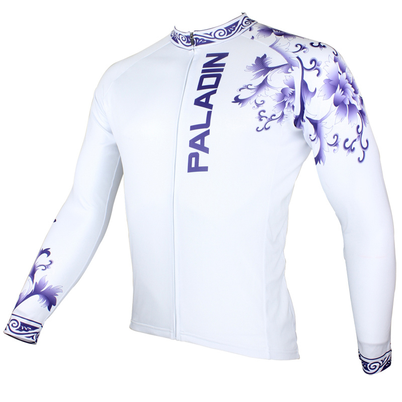 MARTIN  Chinese elements - Blue and white porcelain  Mens Long Sleeve Cycling Jersey Bike Shirt Cycling Clothing ILPALADIN