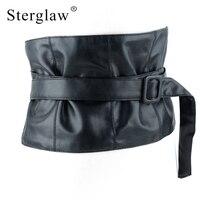 New Woman Ultra Wide Adjustable Slim Body Corset Belt Black Leather Retro Design Comfortable Elastic Belts