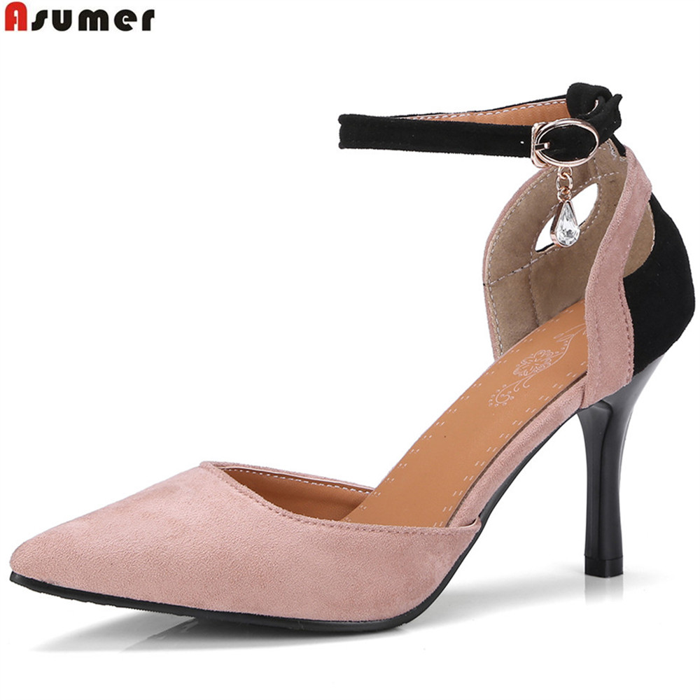 ASUMER black pink fashion spring autumn shoes woman pointed toe buckle women wedding shoes thin heel flock high heels shoes new 2017 spring summer women shoes pointed toe high quality brand fashion womens flats ladies plus size 41 sweet flock t179