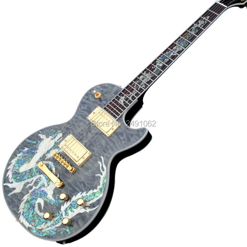 Hot gros haute qualité dragon motifs top G personnalisé guitare et guitare électrique pour livraison gratuite