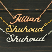 Personalized Necklace Name Necklace Custom Name Necklace Personalized Name Plate Jewelry Alloy Necklace