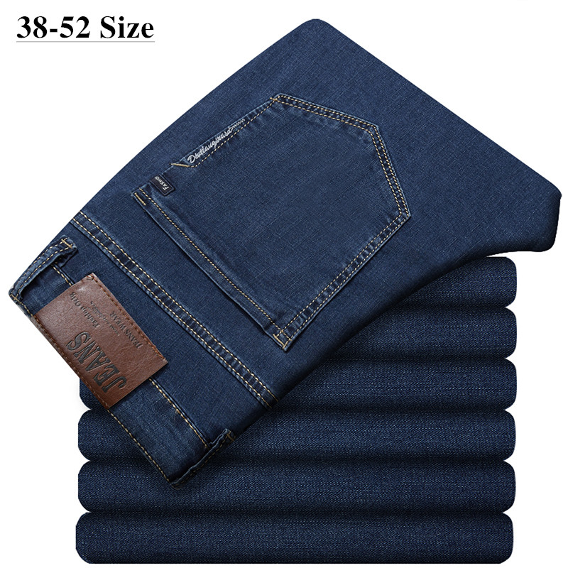 Plus Size 44 46 48 50 52 Mens Blue Jeans 2020 Classic Loose Elastic Trousers Business Casual Denim Pants Brand Mens Clothes