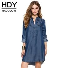 HDY Haoduoyi 2017 Summer Women Fashion European Style Simple Loose Single Breasted Mini Dress POLO Solid Pocket Denim Dress