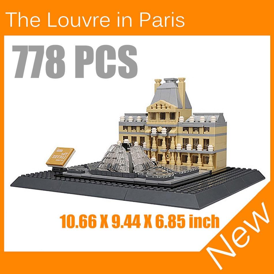 ФОТО 2017 New The Louvre Paris 3D Model Building Blocks Architecture Creator Series Classic Compatible Legoed House Toys