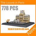 El Louvre de París 3D Modelo de Bloques de Construcción de Arquitectura Creador Serie Classic Compatible Legoed Juguetes de la Casa