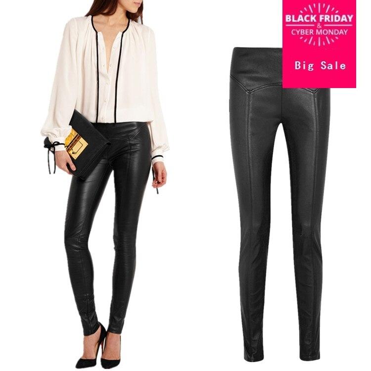 2019 pantalons en cuir PU lavage à l'eau pour femmes avec des chaînes de hanche minces de style punk velours mince femmes pantalons de longueur cheville wj1421