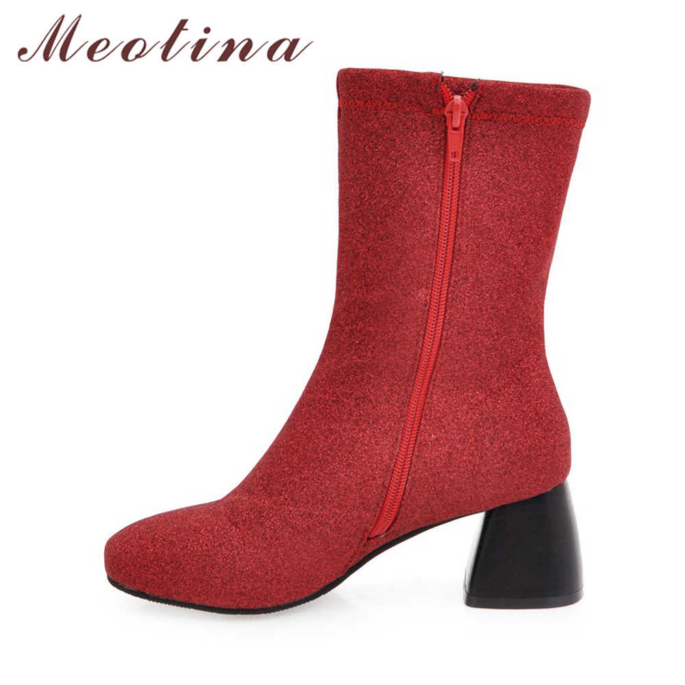 460e09305bd ... Meotina Winter High Heel Boots Mid Calf Boots Women Western Bling Boots  Fur Zip Lady Fashion ...