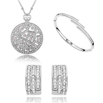 Nowy projekt tanie kryształowy zestaw biżuterii dla kobiet tanie i dobre opinie Ze stopu miedzi Kobiety TRENDY 1161 necklace earrings bracelets Zestawy biżuterii dla nowożeńców Moda Ślub ROUND Jewelry Sets