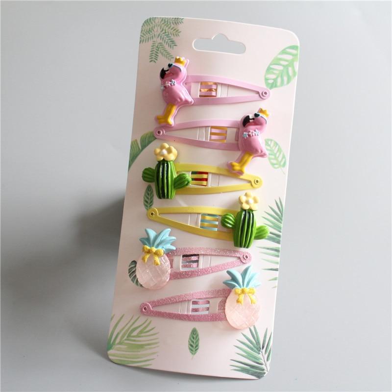 6 PCS Lovely Flamingo Pineapple Cactus BB Clips Girls Hair Accessories Kids Hairpins Children Headwear Baby Hair Clips Headdress