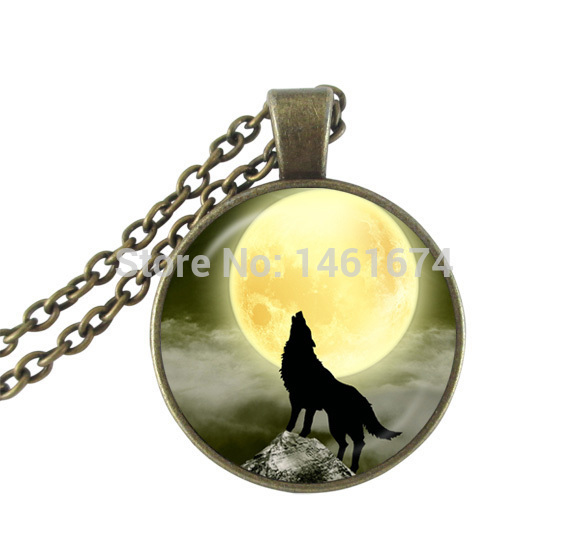 vintage Howling wolf pendant necklace glass cabochon choker necklace jewerly full moon statement necklace women jewellery