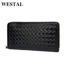 WESTAL Men's Genuine Leather Wallets Men Fashion Clutch Purse Male Long Wallet Small Leather Knitting Style Money Coin Bag 9067