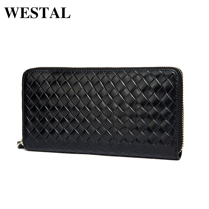 WESTAL Men's Genuine Leather Wallets Men Fashion Clutch Purse Male Long Wallet Small Leather Knitting Style Money Coin Bag 9067 westal genuine leather men wallets leather man short wallet vintage man purse male wallet men s small wallets card holder 8866