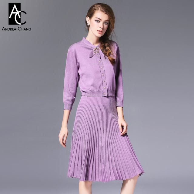 autumn winter runway designer womens clothing set yellow lavender knitted sweater collar bow knee length pleated skirt suit set