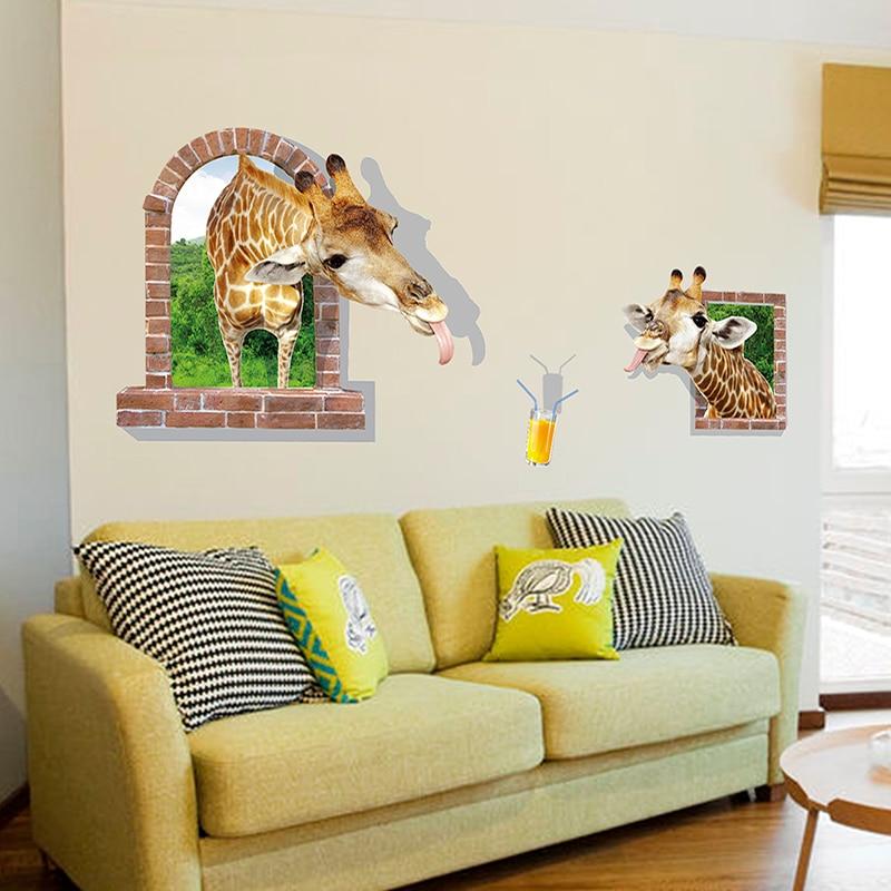Wholesale Funny Window Giraffes 3D Stickers Creative Animal Wall ...