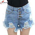 Fringed Denim Shorts Women Europe And The United States Sexy Single-breasted Female Summer Cool Hole Jeans Shorts