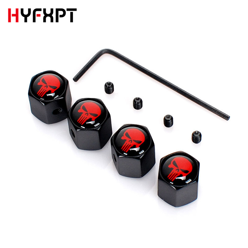 4Pcs Car Styling Metal Ghost Skull Logo Emblem Tire Valve Caps Auto Tyre Air Stems Cap Automobile Motorcycle Tire Accessories4Pcs Car Styling Metal Ghost Skull Logo Emblem Tire Valve Caps Auto Tyre Air Stems Cap Automobile Motorcycle Tire Accessories